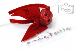 BEAUTIFUL RED HEADBAND WITH BOW WITH TEDDY BEAR